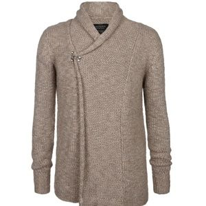 ALL SAINTS Dwell Cardigan Sweater Oatmeal Natural